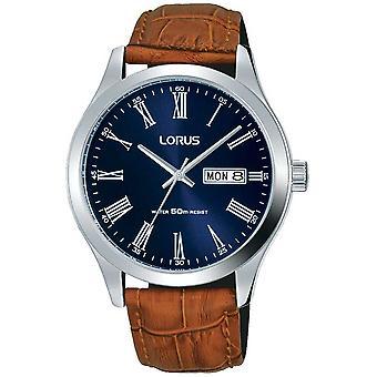 Lorus brunt läder rem Mörk blå urtavla datum & dag Display RXN55DX9 klocka