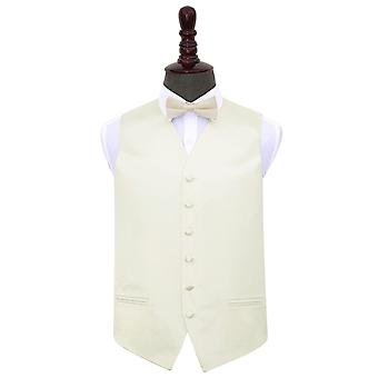Ivory Plain Satin Wedding Waistcoat & Bow Tie Set
