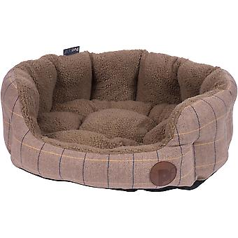 Petface Large Tan Tweed Oval Bed-