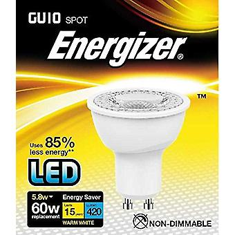 1 X Energizer LED Energy Saving Lightbulb GU10 5.8w = 60w Warm White [Energy Class A+]