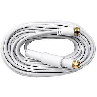 Axing Antennas, SAT Cable [1x F plug - 1x F plug] 10 m 75 dB gold plated connectors White