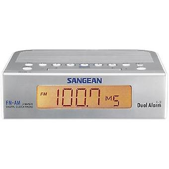 Sangean Atomic 5 FM Radio Wecker AUX, AM, FM-Silber, weiß