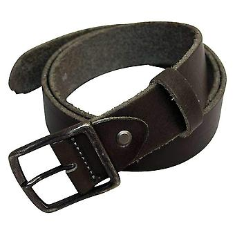 40 Colori Solid Slim Distressed Leather Belt - Charcoal