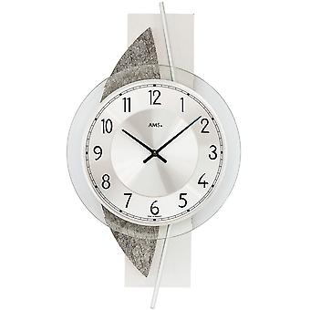Wall clock quartz silver modern natural stone look with aluminium and glass 42 x 23 cm