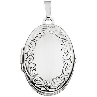 Medaillon oval Anhänger 925 Sterling Silber rhodiniert für 4 Fotos Anhänger silber