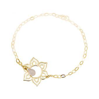 Vrouwen - armband - 925 zilver - goud vergulde - lotusbloem - mandala - Rose Quartz - druppels - roze - YOGA