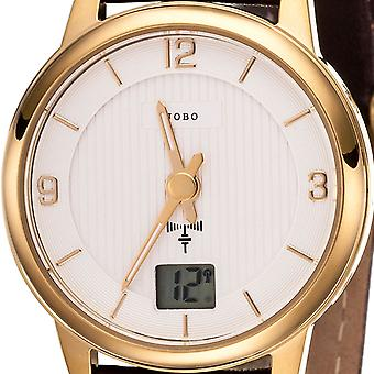 JOBO ladies wristwatch radio radio clock stainless steel gold plated leather band date