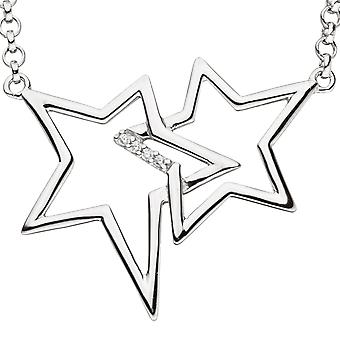 Necklace necklace star 925 Silver with cubic zirconia chain 45 cm silver chain