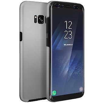 Capa de silicone + capa em policarbonato para Samsung Galaxy S8 Plus - prata