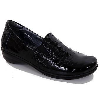 Ladies Leather Stretch Front Patent Crocodile Print Women's Comfortable Shoes