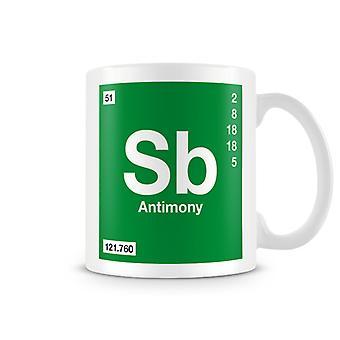 Scientific Printed Mug Featuring Element Symbol 051 Sb - Antimony