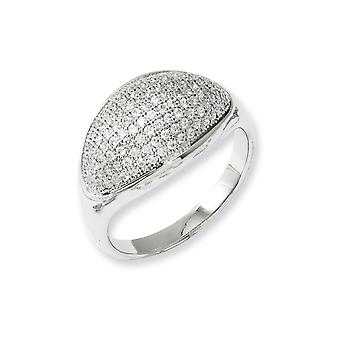 Sterling Silver Rhodium-plated and Cubic Zirconia Fancy Polished Ring - Ring Size: 6 to 8