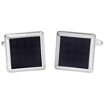 David Van Hagen lucido smalto quadrati Plaid Design gemelli - nero/argento