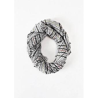 Controllato la frangia orlo lana sciarpa grigio