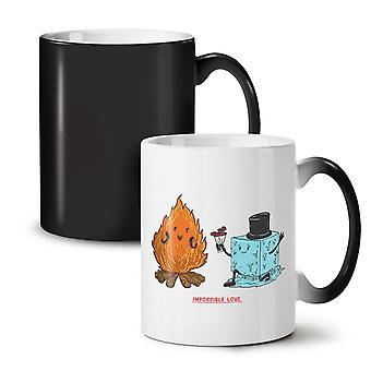 Impossible Love NEW Black Colour Changing Tea Coffee Ceramic Mug 11 oz | Wellcoda