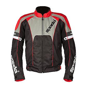 Spada Red Grey Burnout 2 Waterproof Motorcycle Jacket