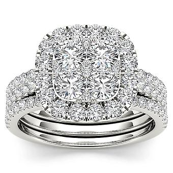 IGI Certified 14k White Gold 2.00 Ct Diamond Halo Two Bands Engagement Ring Set