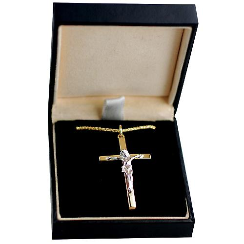 9ct Gold 40x24mm solid block Yellow Cross and White Crucifix with a spiga Chain 16 inches Only Suitable for Children