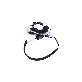Black and white flower girl headband
