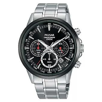 Pulsar Mens Chronograph Black Dial Stainless Steel Bracelet PT3913X1 Watch