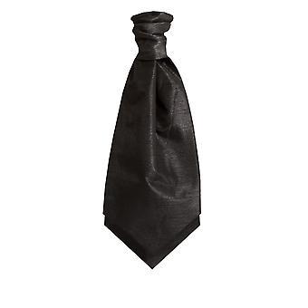 Dobell Black Dupion Cravat (Pre-Tied & Hand Tied)