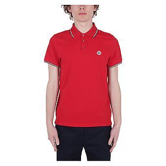 Moncler Red Cotton Polo Shirt