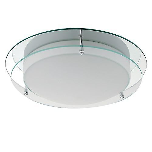 Searchlight 7803-36 Bathroom Chrome Flush Ceiling Light With Clear And Opal Glass