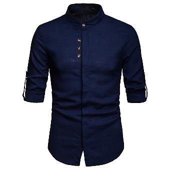 Allthemen Men's Long Sleeve Shirt Linen Stand Collar Busimess Casual Shirt