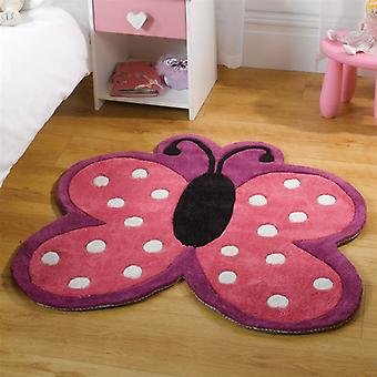 Flair Kiddy Play Polka Butterfly Childrens Rug 90x90cm
