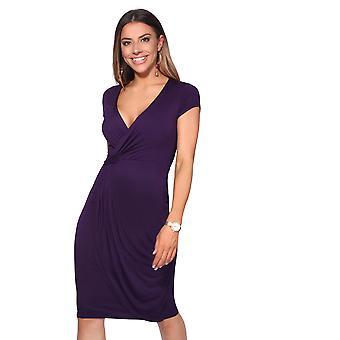 KRISP Womens V Neck Wrap Front Top Jersey Midi Dress Cap Sleeve Pleated Skirt Party