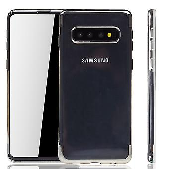 Handyhülle für Samsung Galaxy S10 Silber - Clear - TPU Silikon Case Backcover Schutzhülle in Transparent / glänzender Rand Silber