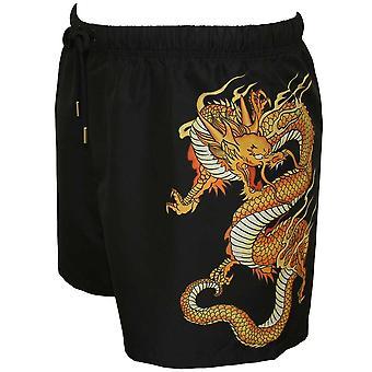 Versace Golden Dragon Print Swim Shorts, Black/gold