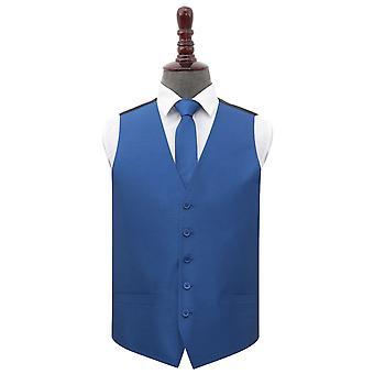 Navy Blue Shantung Wedding Waistcoat & Tie Set