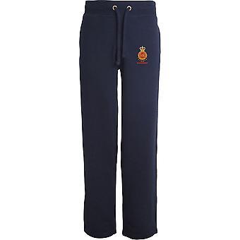 RMAS Royal Military Academy Sandhurst Name - Licensed British Army Embroidered Open Hem Sweatpants / Jogging Bottoms