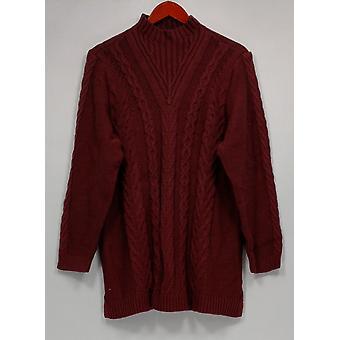 Denim & Co. Women's Petite Sweater XLP Mock Neck Cable Knit Purple A299377