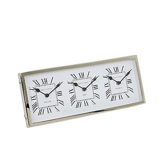 Luz & Living Clock 41x16x3 cm KELSTON antique branco-níquel