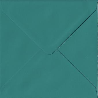 Teal Green gummerat 130mm fyrkantig färgade gröna kuvert. 135gsm GF Smith Colorplan papper. 130 mm x 130 mm. bankir stil kuvert.