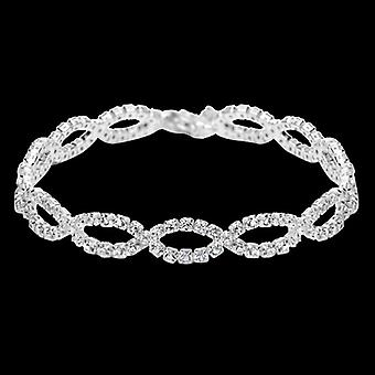 Silver Plated Braid Chain White Austrian Crystals Bracelet, 17cm