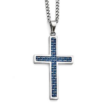 Edelstahl Phantasie Hummer Schließung blau Carbon Fiber Inlay große poliert Kreuz Halskette - 22 Zoll