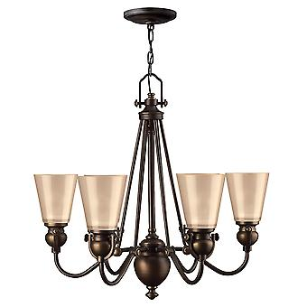 Mayflower Traditional 6 Arm Chandelier with Etched Amber Glass