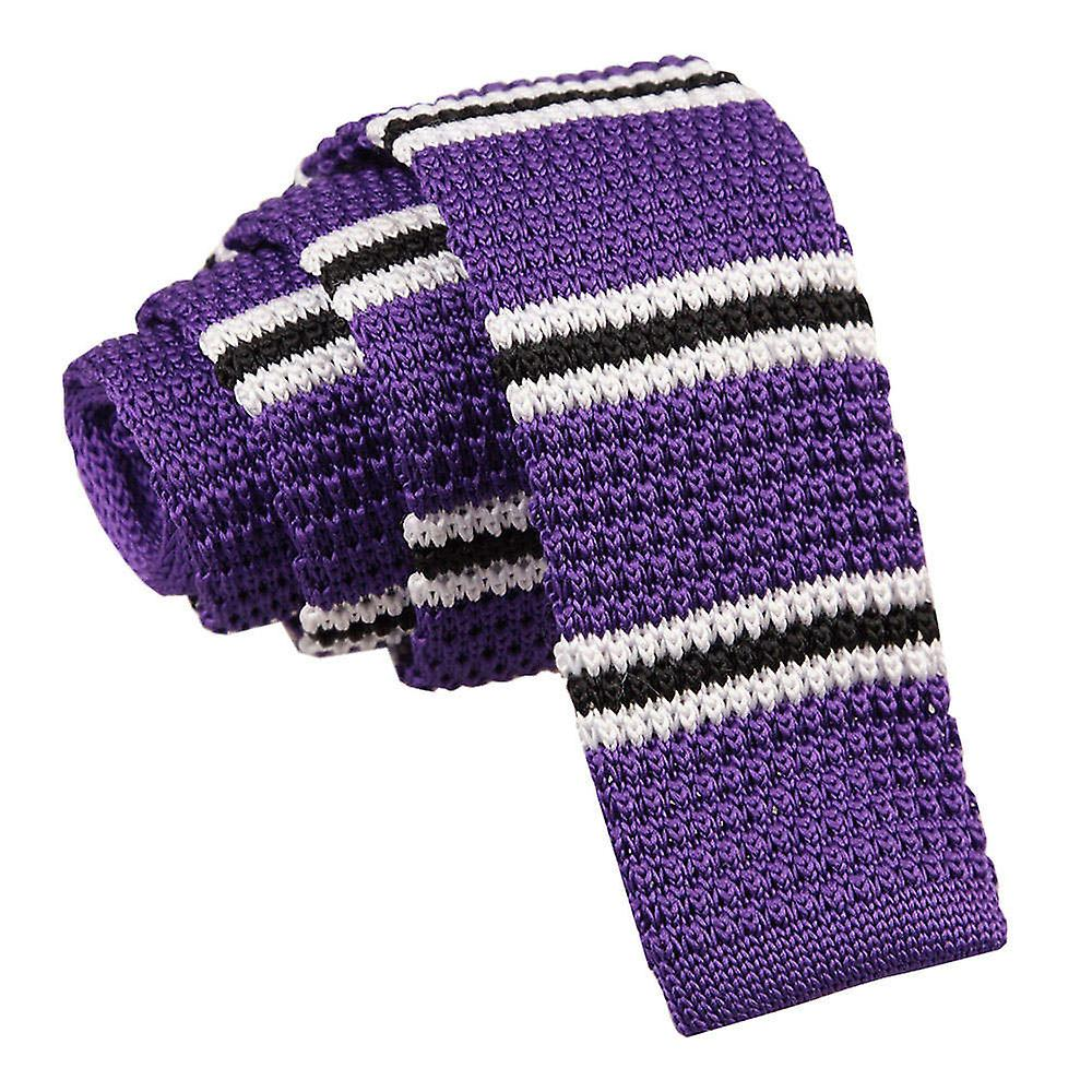 Purple with Black & White Thin Stripe Knitted Tie