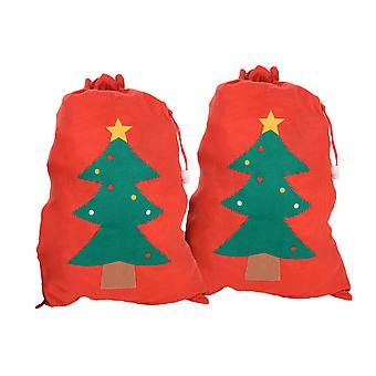 Large Felt Christmas Sack Gift Bags - Set of Two Christmas Tree