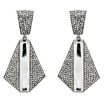 Butler & Wilson Crystal Art Deco Trapezium Shape Drop Earrings