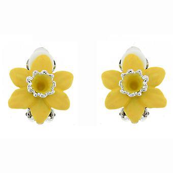 Clip en la tienda de pendientes plateados y presilla de Narciso flores de esmalte mate amarilla O