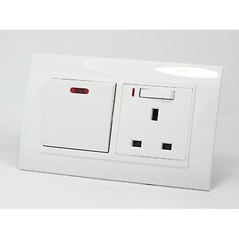 I LumoS AS Luxury White Plastic Arc  20A Switch with Switched Neon 13A  UK Socket