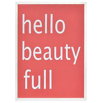 Wellindal Box printed message  Hello beauty full  red background 54x74x1,9 cm