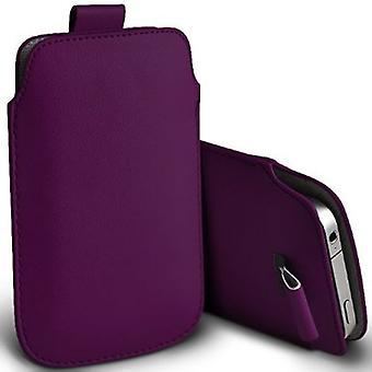 ONX3 (Dark Purple) HTC Desire 10 Pro Case High Quality Pouch Sleeve Faux Leather Case Cover with Pull Tab Cord Slip In