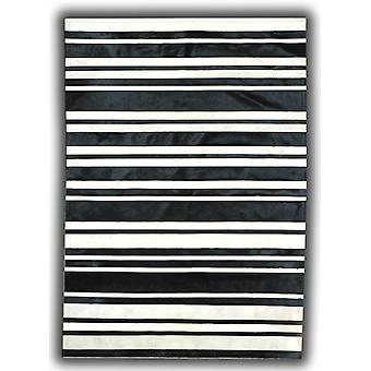 Rugs - Patchwork Leather Cowhide - ST7-50 Black & White Stripes
