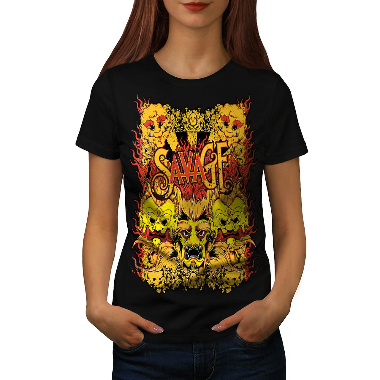T-shirt nero selvaggio Samurai Mask Parade asiatiche donne | Wellcoda