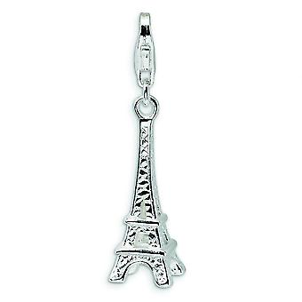 Sterling Silver Polished Eiffel Tower With Lobster Clasp Charm - 2.3 Grams - Measures 33x9mm